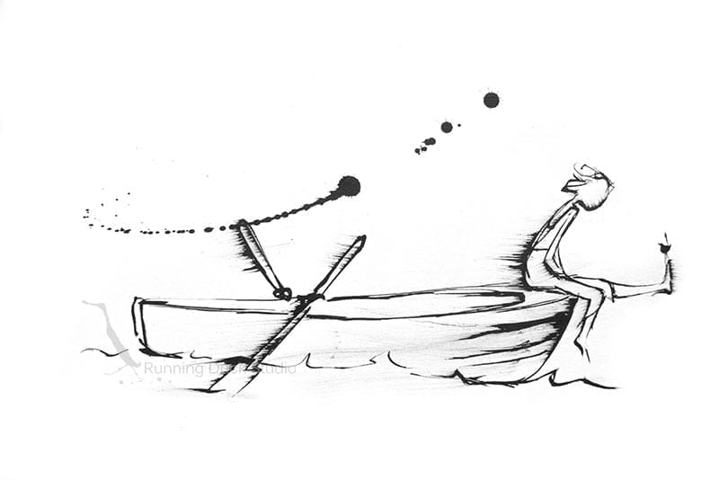 Running Duck Studio Ink Gallery - A drawing of a boy drifting on a small boat