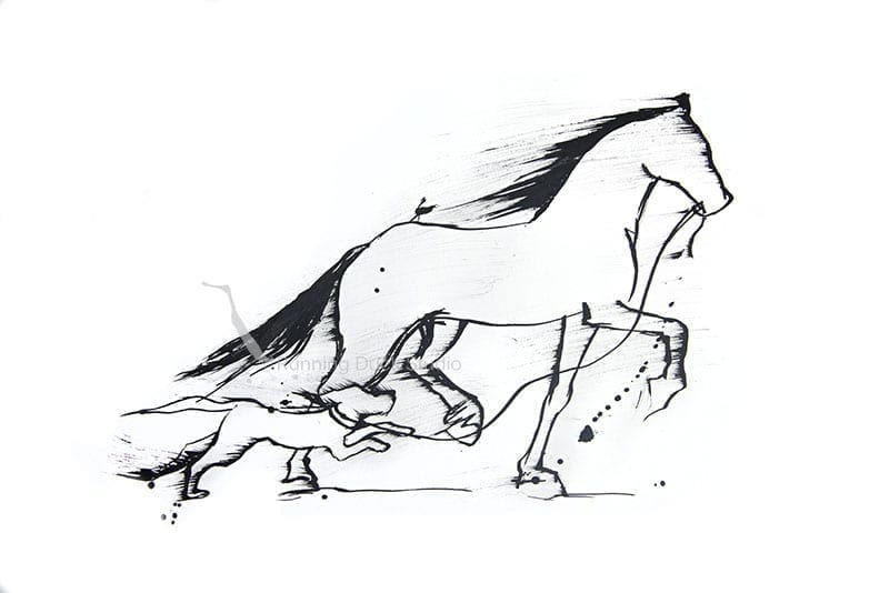Running Duck Studio Ink Gallery - Artwork of a horse and dog running