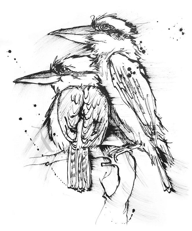 Wildlife artwork of Kookaburras