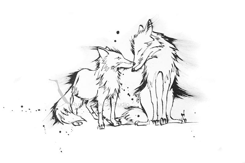 Black and white artwork of foxes