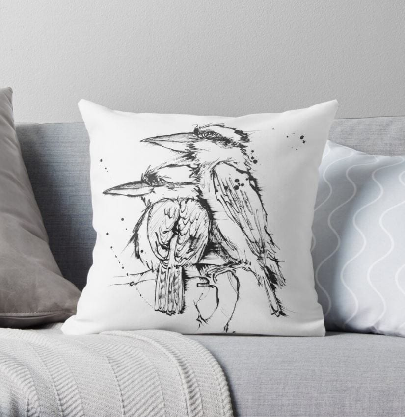 kookaburra artwork on a cushion