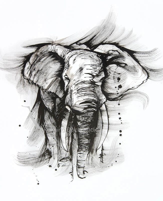 ink art of an Elephant standing