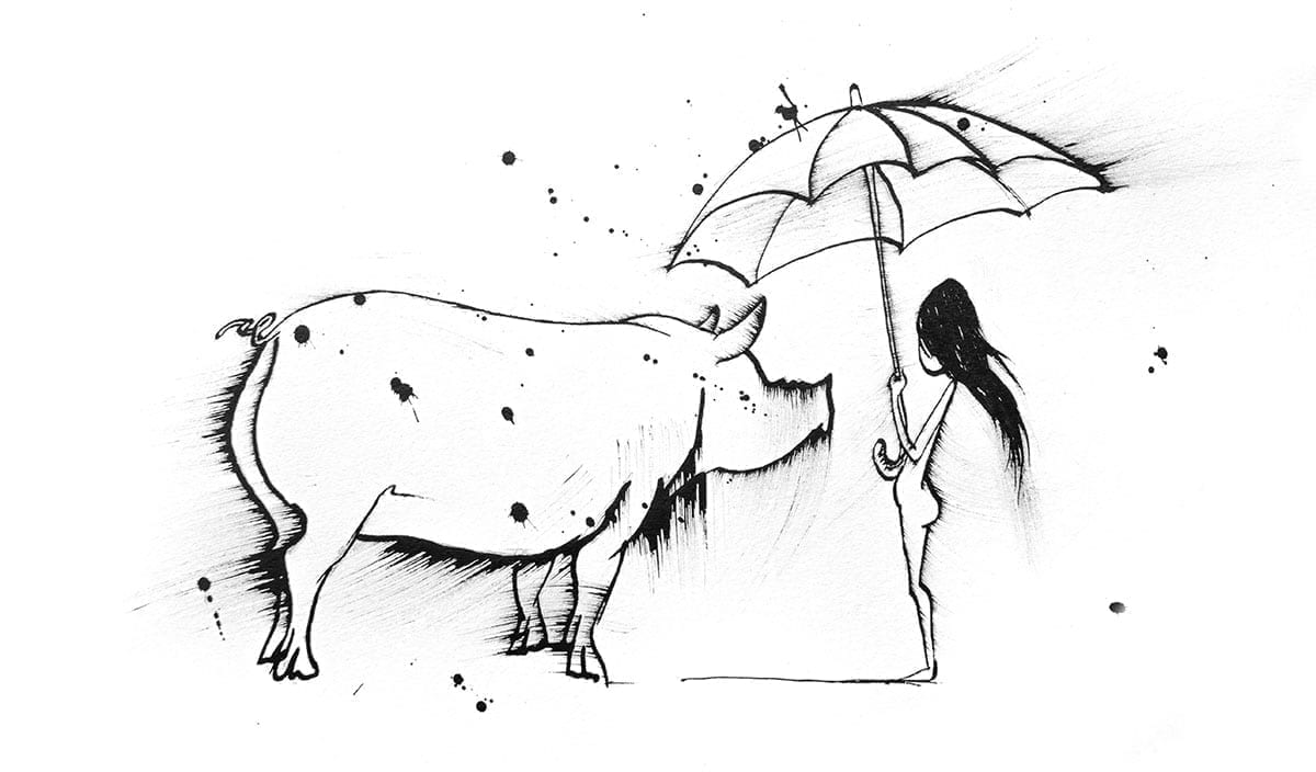 Artwork of a pig and a child holding an umbrella