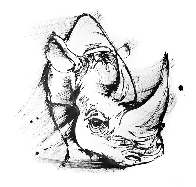 Endangered wildlife Rhino artwork