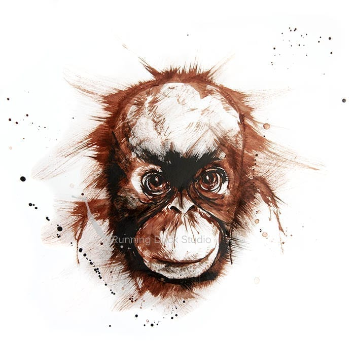 artwork of a baby Orangutans head
