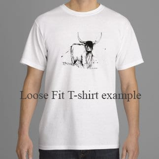 T shirt with Highland cow on it