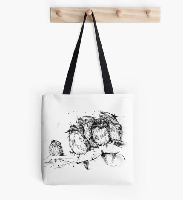 Tote bag with Tawny Frogmouth on it