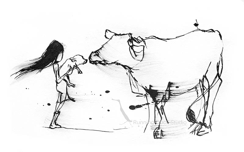 Artwork of a girl holding a pig to a cow