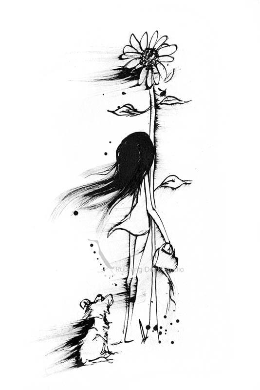 Artwork of a girl in the garden