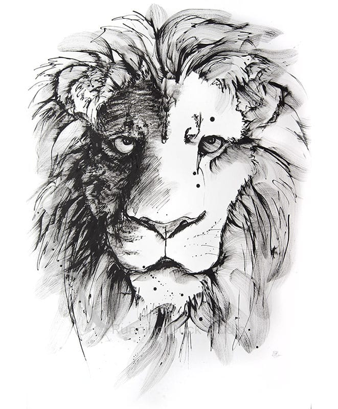 black and white ink artwork of a Lion