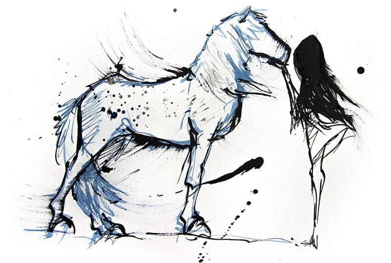 Girl and horse drawing