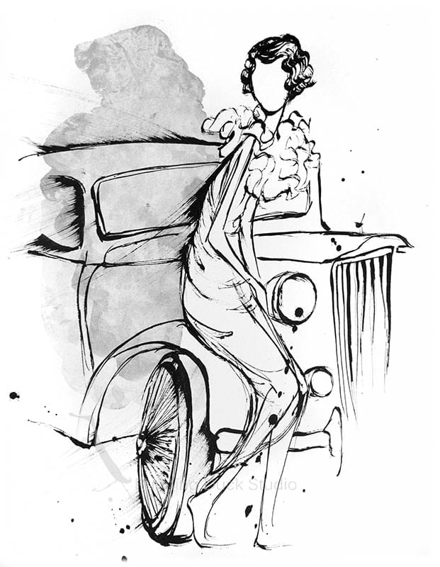 Drawing of vintage car and 1920s fashion