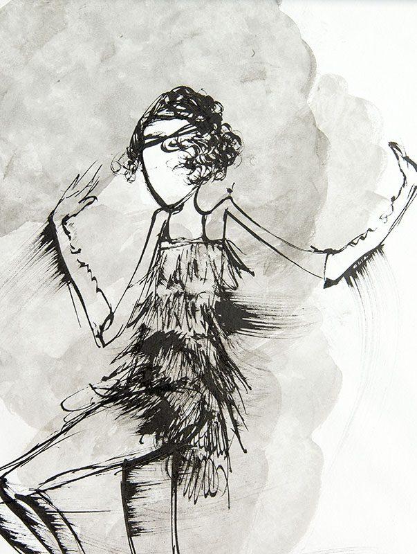Dancing flapper illustration