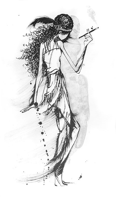 Ink drawing of 1920's Flapper